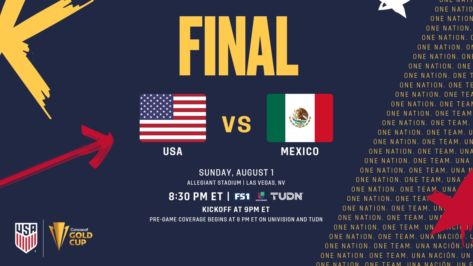 UPDATE: It will be USA vs Mexico at 5:30PM Sunday at Allegiant Stadium.