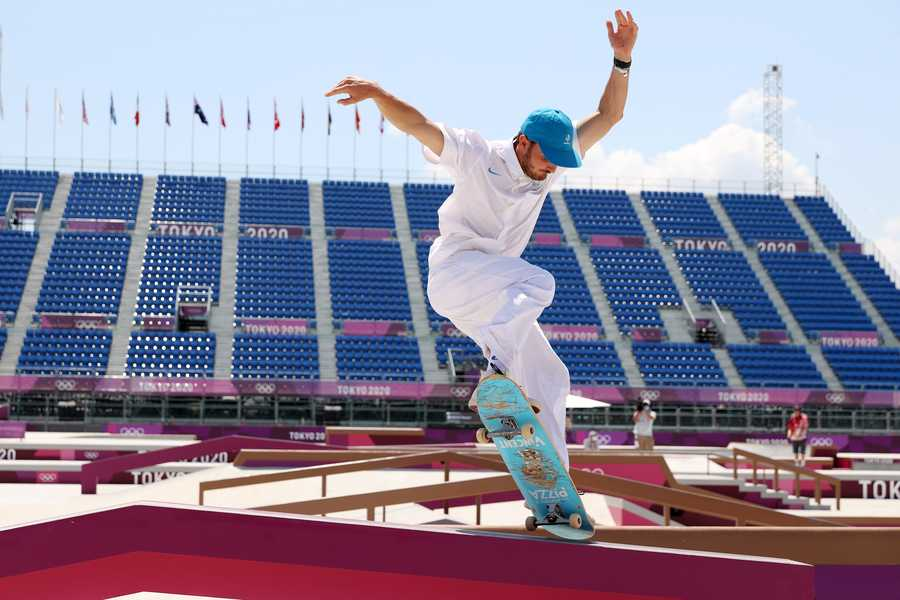 Vincent Milou of Team France competes at the Skateboarding Men's Street Finals on day two of the Tokyo 2020 Olympic Games.
