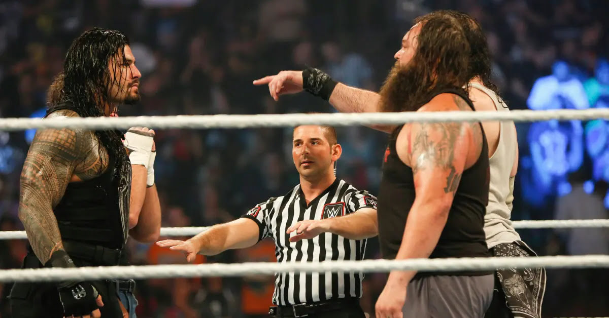 Roman Reigns and Bray Wyatt at the WWE SummerSlam 2015