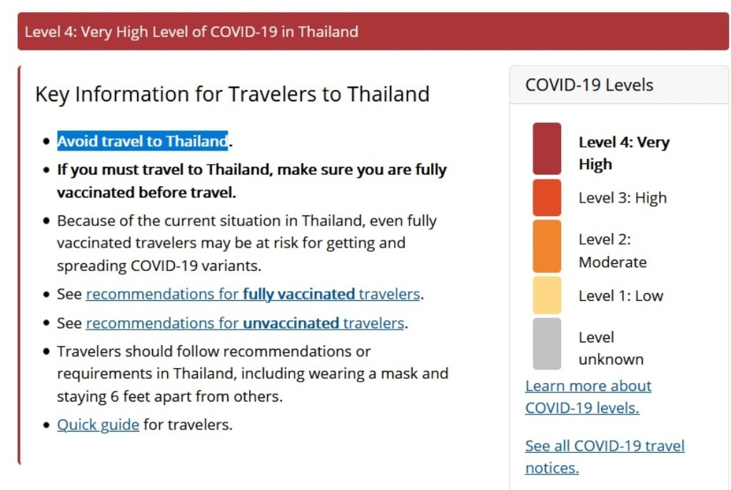 U.S Warns Travellers Over Very High Levels of COVID-19 in Thailand