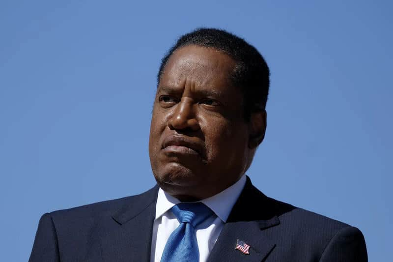Republican conservative radio show host Larry Elder speaks at a rally for the California gubernatorial recall election on Monday in Monterey Park, Calif. Recent polls show Elder has the support of more than a quarter of likely voters.