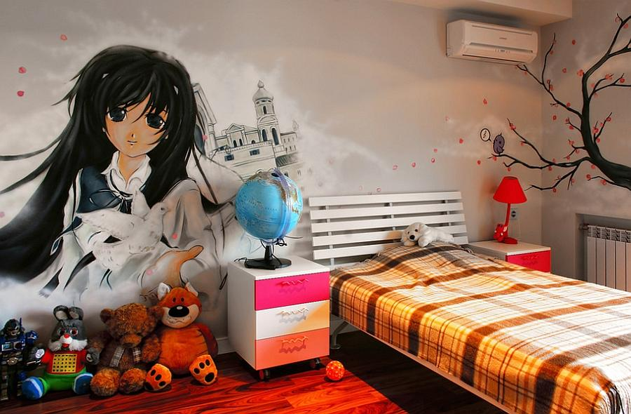 Graffiti wall covering for the modern teen girls' bedroom